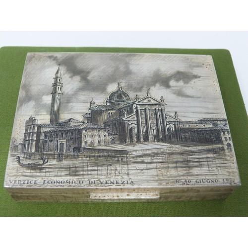 432 - A green silk cased Buccellati silver cigarette box engraved with 'Santa Maria della Salute' in de Ve...