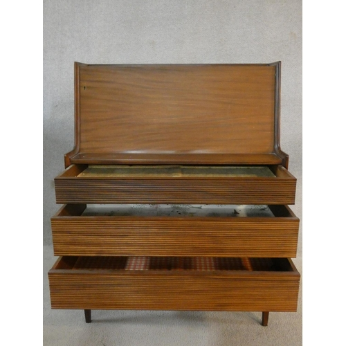 106 - A Richard Hornby 1960's vintage afromosia bureau for Fyne Ladye Furniture with fall front enclosing ...