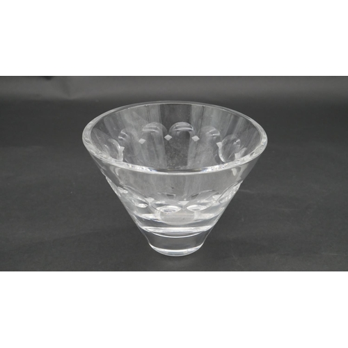 76 - An Asprey & Co cut crystal ship's decanter with hallmarked silver collar along with three crystal va...