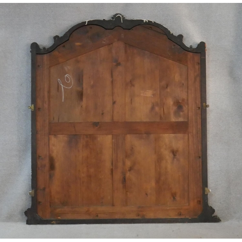 75 - A late 19th century carved mahogany framed overmantel mirror with original plate. H.166 W.138cm