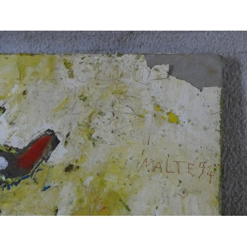 205 - Malte Brekenfeld, an oil on fabric on canvas, signed and dated. H.108 W.86cm