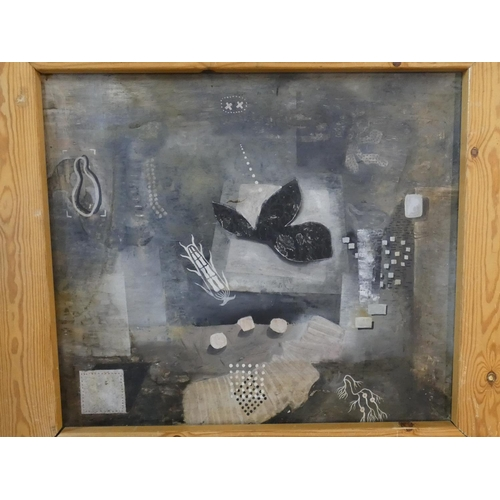 296 - Christopher Ku (b.1957), a framed oil on canvas on metal, abstract forms, signed and dated to the re...