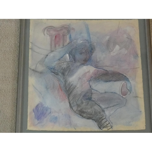 297 - Pilar Cossio (Born 1950), framed watercolour with pastel, Classical style nude study, signed and dat...