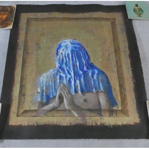 362 - Frederico Uribe (b.1962) unmounted acrylic on canvas, surrealist study, signed and dated to the reve...