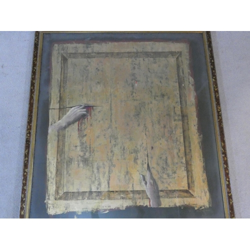 206 - Frederico Uribe (b.1962), a framed acrylic on canvas with gold leaf, signed and dated. H.131 W.117cm