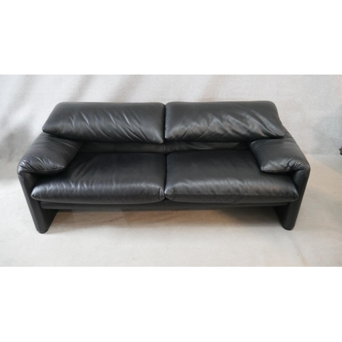 88 - A vintage Maralunga sofa in black leather upholstery with adjustable back rests by Vico Magistretti ...
