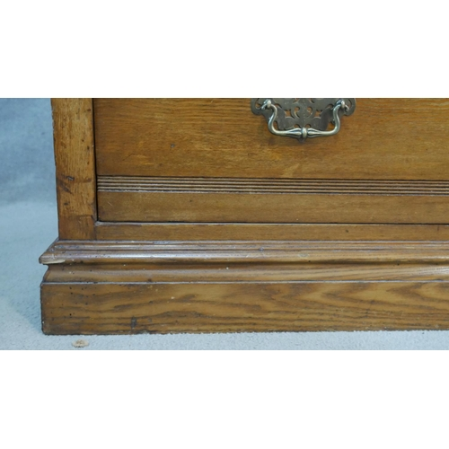 124 - A Victorian walnut chest of drawers with original brass handles on plinth base. H.107 W.107 D.53cm
