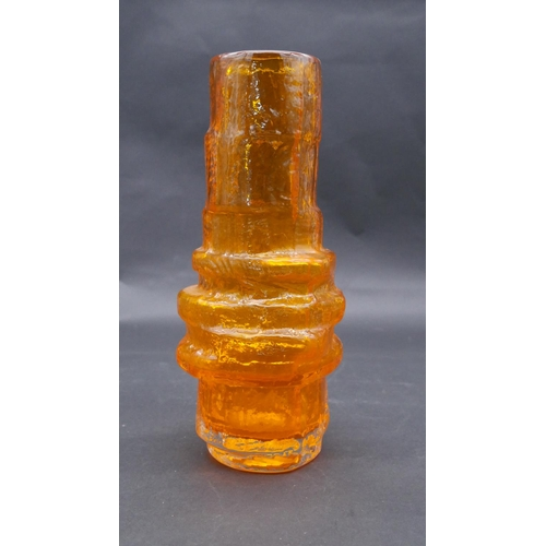 182 - A Whitefriars hooped and assymetric tangerine glass vase. H.29cm
