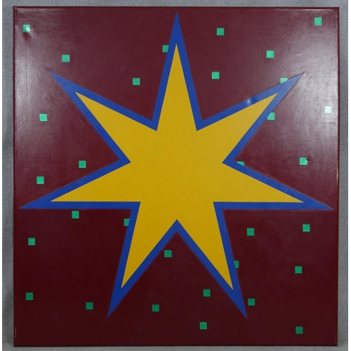 29 - John Charles Clark (B.1941), a large oil on canvas, Random Pattern With Star, signed and inscribed t...
