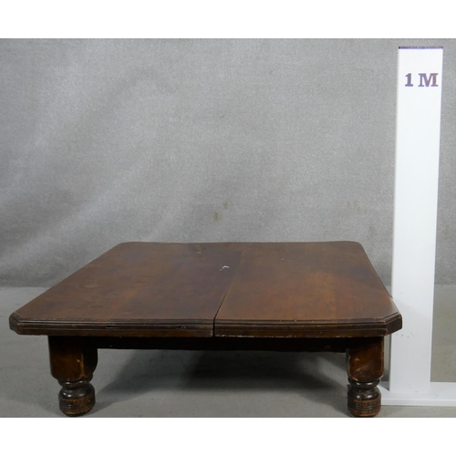 74 - A late 19th century mahogany coffee table. (reduced dining table). H.32 W.102 D.102cm