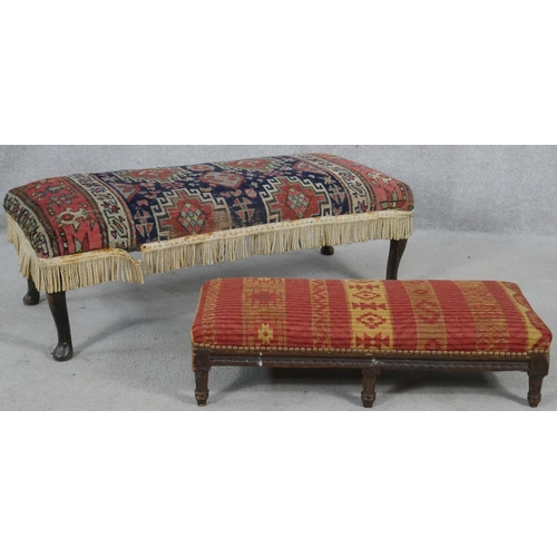 75 - A kelim upholstered footstool on cabriole supports and a similar 19th century stool. H.30cm