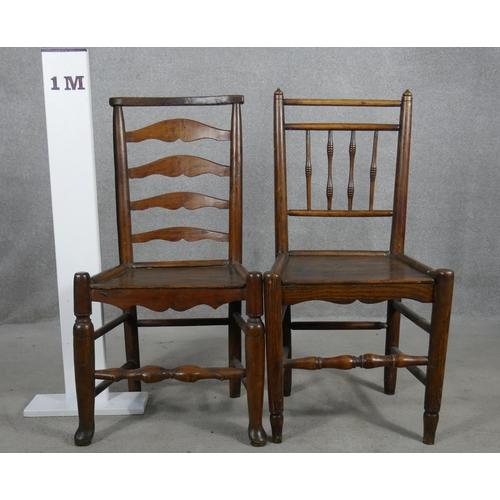 76 - A 19th century oak ladderback hall chair and a similar antique elm hall chair. H.92cm