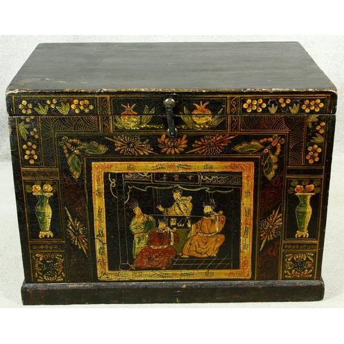 187 - A 19th century Chinese chest with twin carrying handles and hand decorated with lacquered panels. H....