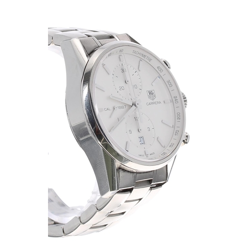 19 - Tag Heuer Carrera chronograph automatic stainless steel gentleman's bracelet watch, ref. CAR2111 no....
