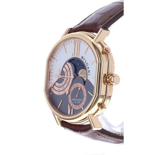 34 - Bulgari Daniel Roth Grande Lune 18k rose gold gentleman's wristwatch, no. BRx P 4x G Mx, the bi-colo...