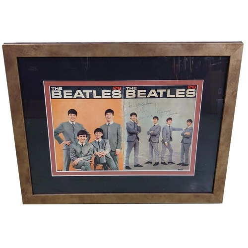 """The Beatles - set of autographs upon a 1960s Beatles book, mounted and framed, 17.5"""" x 22.5"""""""