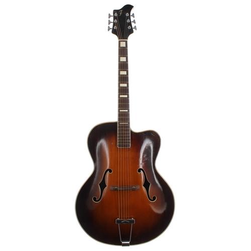49 - 1950s archtop guitar, possibly by Hans Frederik Jensen; Finish: sunburst, cutaway restoration to the...