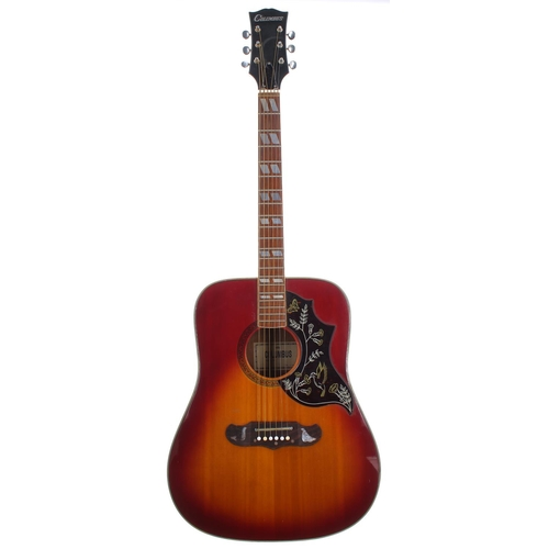52 - 1970s Columbus Hummingbird acoustic guitar, made in Japan; Finish: cherry sunburst, many scratches t...