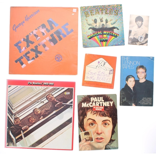 The Beatles - good small selection of Beatles ephemera to include 'Magical Mystery Tour' booklet EP, '1962-1966' compilation album, George Harrison - 'Extra Texture' vinyl album, an Eskimo Foods black and white photograph of George Harrison with George Harrison pin badge, a 'Love Letters to The Beatles' hardback book, Paul McCartney - 'In His Own Words' book and 'The Lennon Tapes' book