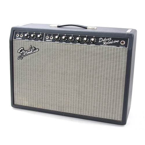 512 - Fender '65 Deluxe Reverb-Amp guitar amplifier, made in USA, ser. no. AC037930, dust cover