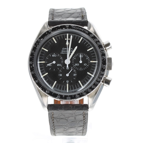 Omega Speedmaster Professional chronograph stainless steel gentleman's wristwatch, ref. 145012-67, circa 1967, serial no. 250041xx, circular black dial, black tachymeter bezel, signed cal. 321 17 jewel movement,dust cover, modern black leather strap, 42mm - ** Omega box