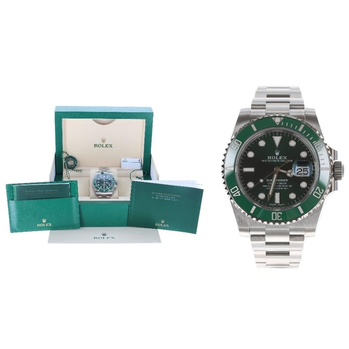 Rolex Oyster Perpetual Date Submariner 'HULK' stainless steel gentleman's bracelet watch, ref. 116610LV, serial no. 4158xxxx, green dial and bezel, screw down crown with quick set date, Oyster bracelet with fliplock clasp, 43mm including crown guards  ** In excellent condition, with Rolex box with outer box and cover, international guarantee card stamped The Watches Of Switzerland Group Ltd and dated 06/09/2019, guarantee manual, instructions booklet, two tags, plastic protective case, Rolex bag, spare link, bezel protector