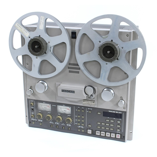 Tascam BR-20T reel-to-reel recorder, made in Japan, ser. no. 40198; together with a selection of Ampex Precision Magnetic tape reels