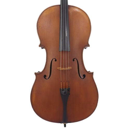 """Good violoncello circa 1900, probably English, unlabelled, the two piece back of fine/medium curl with similar wood to the sides, the head of faint broad curl, the table of a fine width grain widening to the flanks and the varnish of a light reddish-brown colour on a golden ground, 29 3/4"""", 75.60cm"""