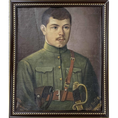 """Tom Crogan - portrait of Major (later Brigadier General) Thomas Dix Perkin (b.1892), signed, also inscribed on a later label verso, oil on canvas, 30"""" x 25""""; together with four further pictures, including three oil paintings, one unframed depicting a naval officer holding an instrument in his right hand upon a chart, a boat in the distance, inscribed with a Heraldic coat of arms, oil on canvas, unframed, 40"""" x 30""""; another oil painting depicting a Russian officer indistinctly signed and dated 1920. 20.5"""" x 16""""; another military gentleman wearing a blue uniform decorated with a badge and further badges on his lapels, 22.5"""" x 17"""" and a watercolour signed Juliet Pannett, depicting a naval officer wearing a uniform and displaying five medals, 19.25"""" x 14.5"""" (5)"""