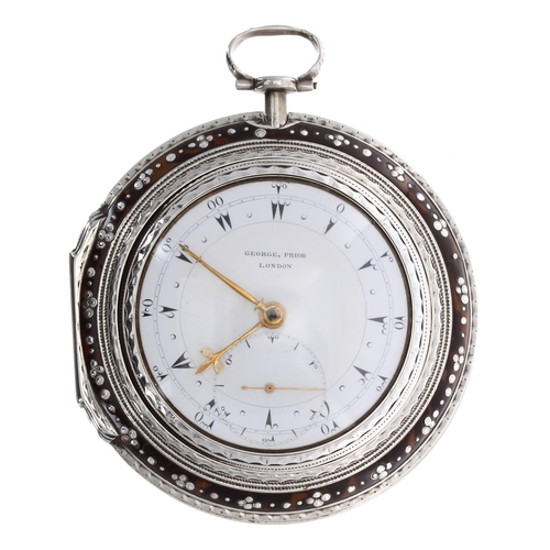 George Prior - Large fine and rare George IV silver and tortoiseshell verge 'subsidiary seconds' triple cased pocket watch made for the Turkish Market, London 1792, the fusee movement signed Geo (George) Prior, London, no. 20569, with pierced engraved balance cock with urn, flat steel three arm balance, silvered regulating scale and cylindrical pillars, the enamel dial signed George Prior, London, with Turkish numerals, minute track and rare subsidiary seconds dial, beetle and poker hands, within plain matching inner cases and tortoiseshell outer case with pinwork decoration, case maker IR (James Richards), 85mm