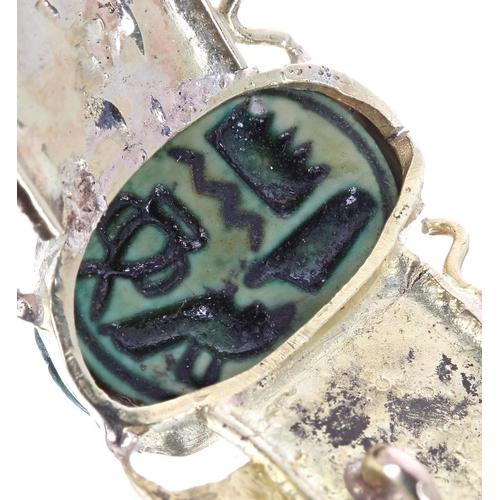 62 - Scarab beetle winged yellow metal brooch, 4.7gm, 58mm wide