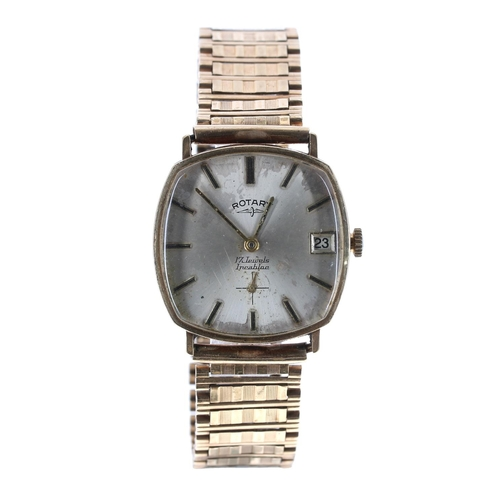 7 - Rotary 9ct gentleman's bracelet watch, London 1972, silvered dial with baton markers, subsidiary sec...
