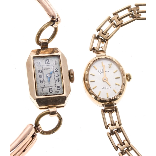 9 - Two 9ct lady's bracelet watches, 24gm in total (at fault)