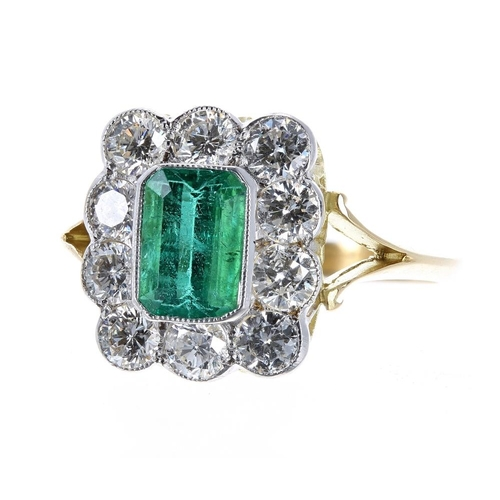 Good 18ct emerald and diamond cluster ring, the emerald 1.00ct, with ten round brilliant-cut diamonds, 1.00ct approx, clarity SI, colour H-J, 13mm x 12mm, 3.8gm, ring size N/O