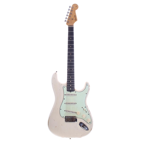 1960 Fender Stratocaster electric guitar, made in USA, ser. no. 5xxx9; Finish: old white refinish, heavily worn / relic'ed throughout, heavy wear to back of neck; Fretboard: Brazilian rosewood, light wear; Frets: good, refret; Electrics: working, cloth wired pickups with three-way CRL switch, tone pots dating to 1960, volume pot code unreadable; Hardware: later green guard installed, original repaired scratchplate supplied, neck screw tips ground off, oxidisation/rusting to smaller metal parts; Other: body rout repair; Case: original Selmer hard case; Weight: 3.40kg; Overall condition: fair *Sold with CITES A10 certificate no. 600203/01