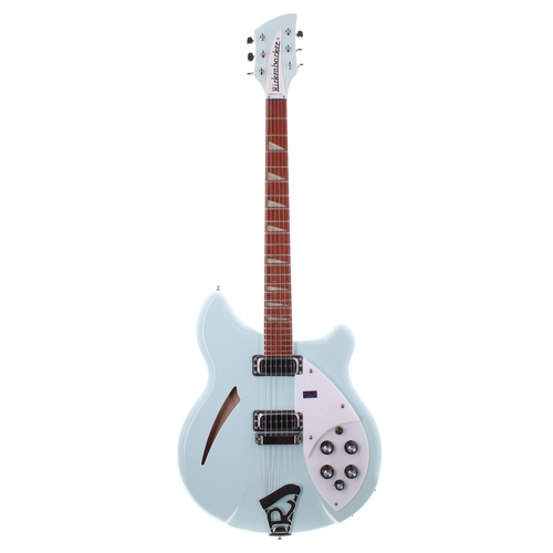 28 - 2002 Rickenbacker 360 semi-hollow body electric guitar, made in USA, ser. no. 02xxxx6; Finish: Blue ...