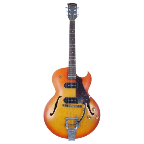 1966 Gibson ES-125 TDC electric guitar, made in USA, ser. no. 4xxxx9; Finish: sunburst, lightly faded to the front, lacquer checking, dings and other wear consistent for age, but generally good, similar wear to back of neck; Fretboard: Indian rosewood; Frets: good, refret; Electrics: working; Hardware: replacement Schaller tuners, replaced switch tip, replacement Tune-O-Matic bridge, sixties British Bigsby tailpiece installed, later neck heel strap button; Case: later hard case; Weight: 2.96kg; Overall condition: good for age