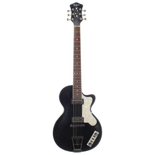 51 - Hofner Contemporary Series Club electric guitar; Finish: black; Fretboard: rosewood; Frets: good; El...