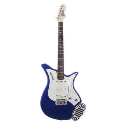 52 - Italia Monza electric guitar with amp pod; Finish: blue sparkle; Fretboard: rosewood; Frets: good; E...