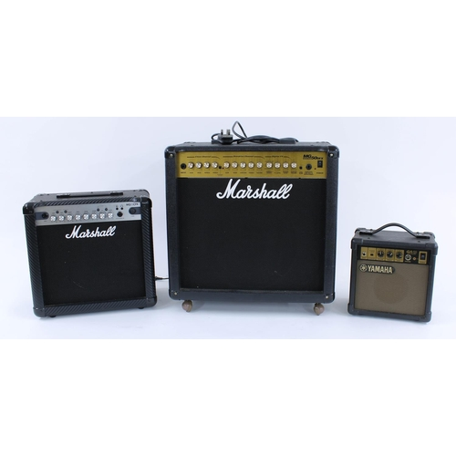 607 - 2002 Marshall MG50DFX guitar amplifier, foot switch; together with a Marshall MG15CFX amplifier and ...