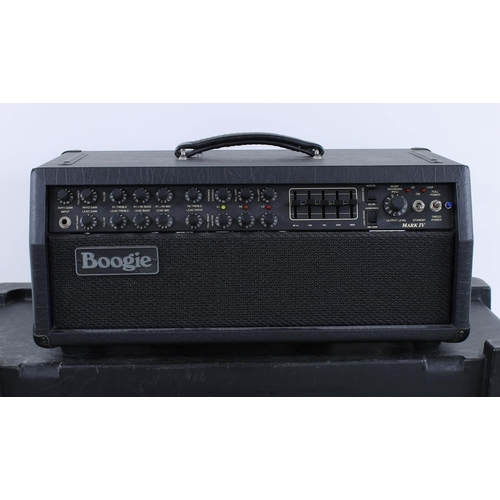 622 - Mesa Boogie Mark IV guitar amplifier head, made in USA, ser. no. IV-009362, with matching 2 x 12 spe...