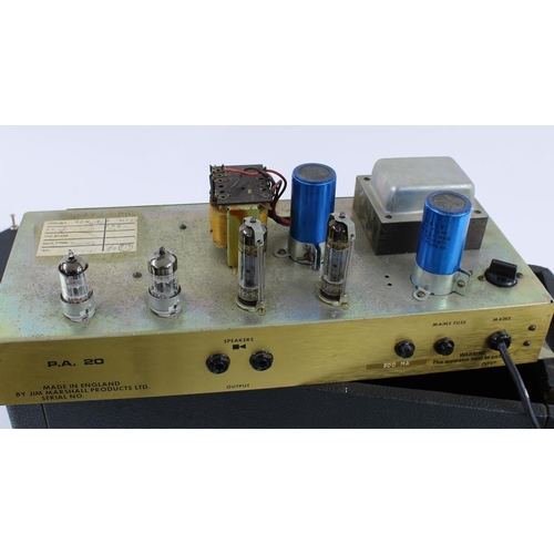 627 - 1972 Marshall JMP PA 20 guitar amplifier head, made in England; together with matching 1 x 12 speake...