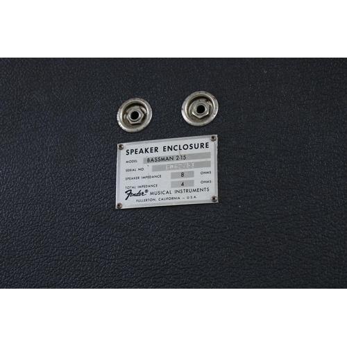628 - Fender Bassman 2-15 2 x 15 speaker cabinet, made in USA, ser. no. F062751