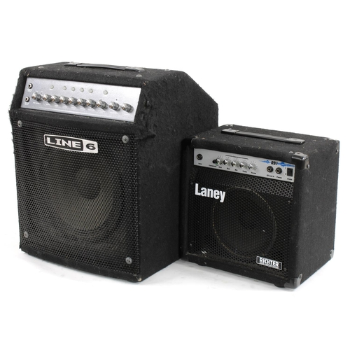 650 - Line 6 Lowdown LD150 bass guitar amplifier in need of slight attention; together with a Laney Richte...