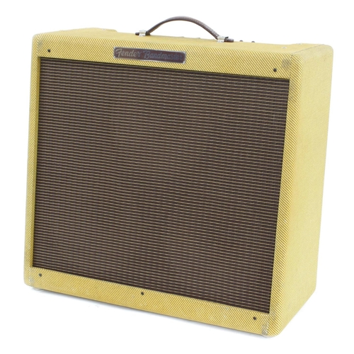 657 - Fender '57 Bandmaster reissue guitar amplifier, made in USA, ser. no. AB036645, dust cover