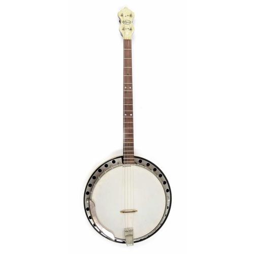 1206 - Wizard of New York 1920s plectrum chevron banded banjo, the detachable resonator transfer printed wi...
