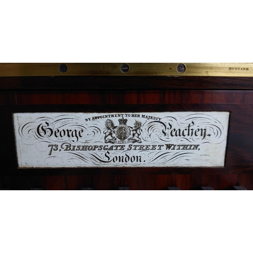 1226 - Rosewood cabinet piano by George Peachey of London, with cylinder keyboard cover over a recessed bea...