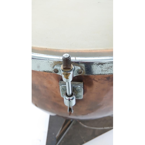 1227 - Rare and important pair of Parsons Super Ideal copper pedal tuned timpani drums, 29