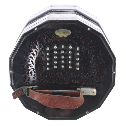 1243 - Rare C Wheatstone Crane system concertina, with fifty one buttons on pierced raised foliate twelve s...