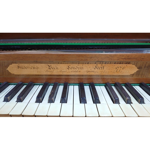 1244 - Square piano by Frederick Beck, London 1776, the case of mahogany with chequered stringing, the faci...
